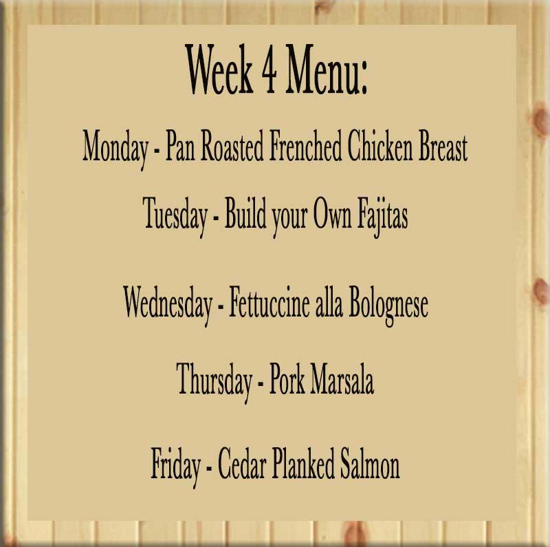 Homestyle dinner delivered week 4 menu