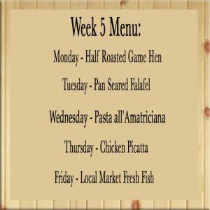 Homestyle dinner delivered week 5 menu