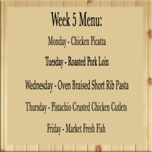 Our newest Week 5 menu at Food Inc. SB
